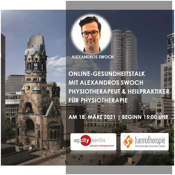 Anmeldung zum Online-Gesundheitstalk mit Alexandros Swoch Physiotherapeut & Heilpraktiker für Physiotherapie