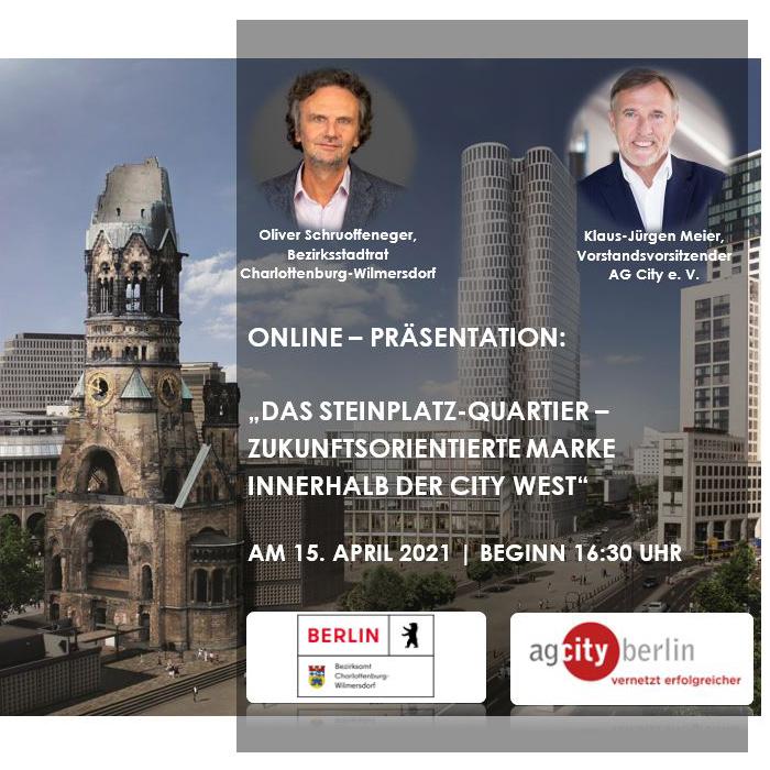 """Anmeldung zur Online – Präsentation """"Das Steinplatz-Quartier – zukunftsorientierte Marke innerhalb der City West"""""""