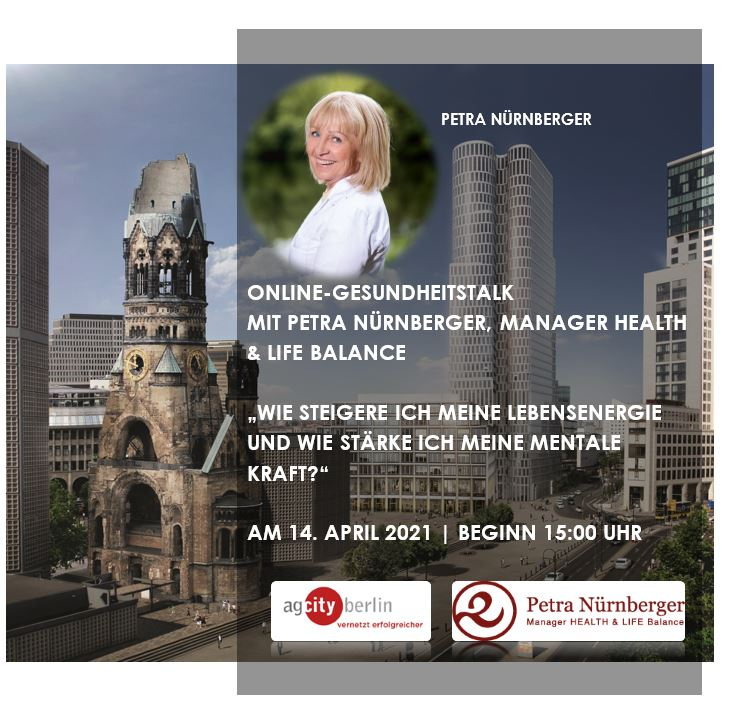 Anmeldung zum Online-Gesundheitstalk mit Petra Nürnberger, Manager HEALTH & LIFE Balance